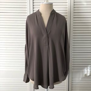 Moon Collection Olive Long Sleeve Blouse High-Low